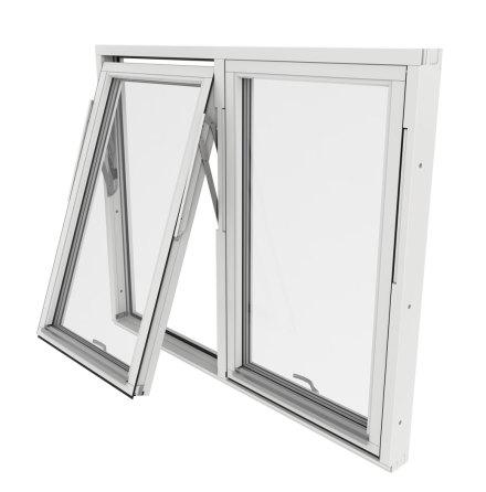 Vridfönster Outline Tvåluft 3-Glas Vitmålat Trä