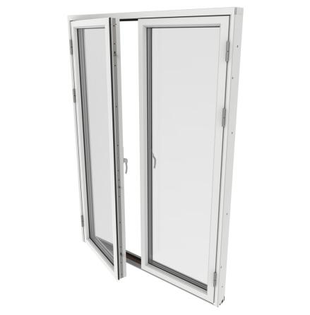 Helglasad Parfönsterdörr Outline 3-Glas Vitlackerad Alu