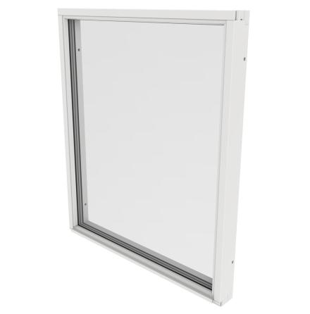 Fast Fönster Outline 3-Glas Vitmålat Trä