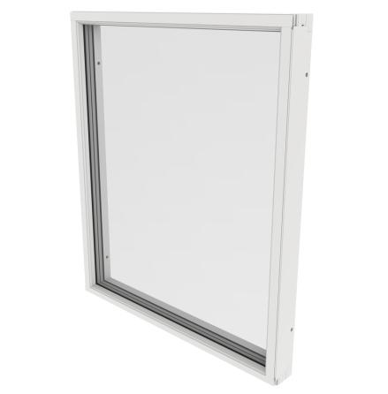 Fast Fönster Outline 3-Glas Vitlackerad Alu