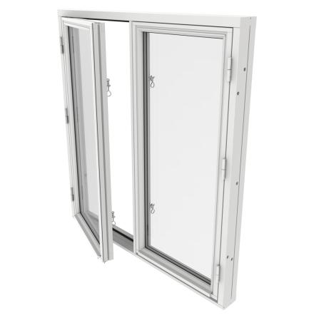Sidohängt Fönster Tvåluft Outline 2-Glas Vitmålat Trä