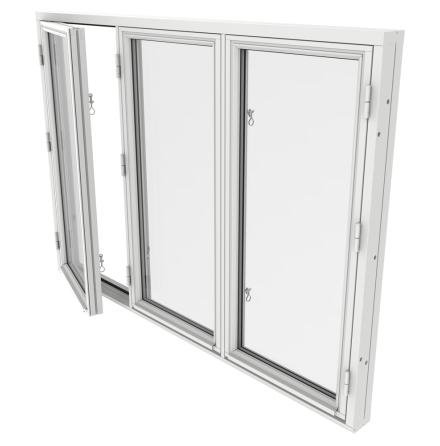 Sidohängt Fönster Treluft Outline 2-Glas Vitmålat Trä