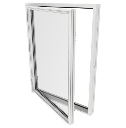 Sidohängt Fönster Outline 2-Glas Vitmålat Trä