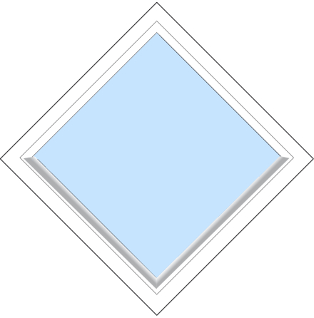 Diagonalt Fast Outline FF12F 3-Glas Vitlackerad Alu
