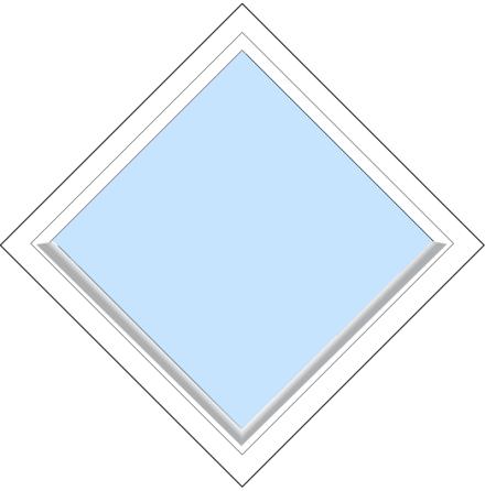 Diagonalt Fast Outline FF12F 3-Glas Vitmålat Trä