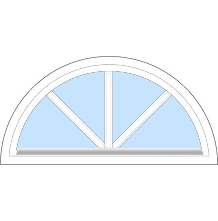 Halvrunt Dekorfönster Outline FF18F Enkelglas Vitmålat Trä