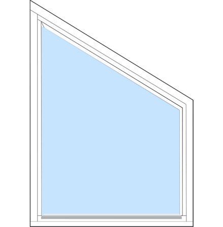 Spetsig Överkant Fast Outline FF8F 3-Glas Vitmålat Trä