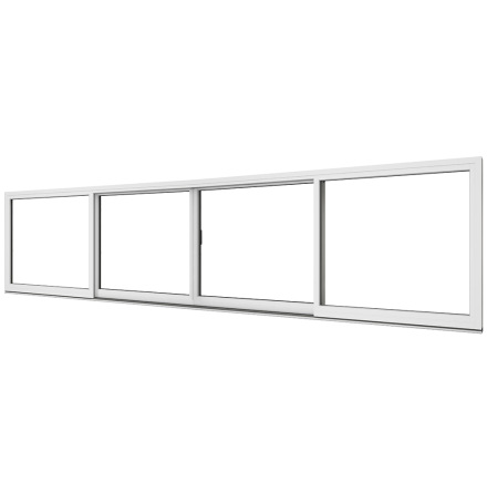 Skjutdörr Elitfönster 4-delad Vitlackerad Aluminium