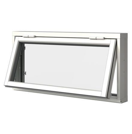 Överkantshängt Fönster Elitfönster Retro 3-Glas Vitlackerad Aluminium