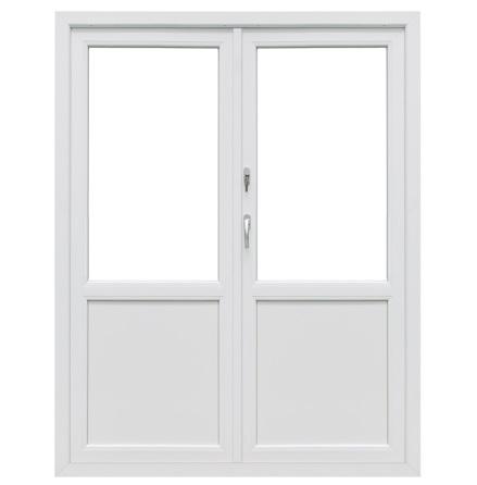 Bröstad Utåtgående Parfönsterdörr Drutex Iglo 5 Classic 2-Glas PVC Vit